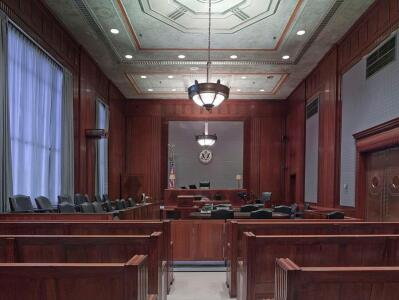 Inside a court house
