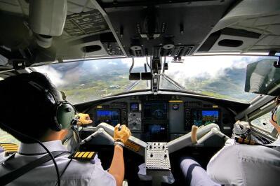 Pilots flying a plane