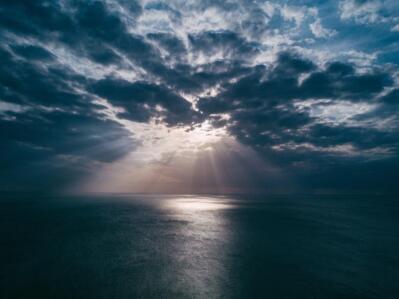 Sun reflects off the ocean.