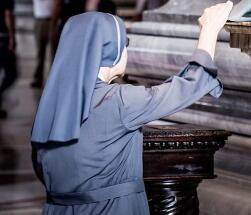 An elderly nun
